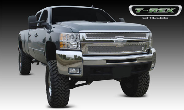 T-Rex (6711120)  Chevrolet Silverado HD 2007 - 2010 X-METAL Series - Studded Main Grille - Polished SS - 2 Pc Style