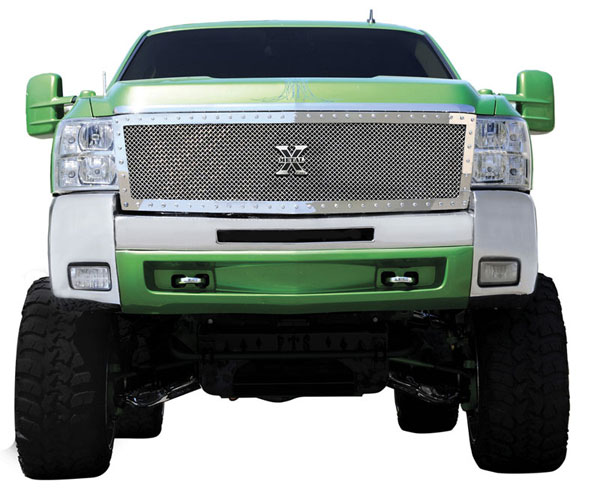 T-Rex 6711130:  Chevrolet Silverado HD 2007 - 2010 X-METAL Series - Studded Main Grille - Polished SS - Custom 1 Pc (Replaces OE Grille) (UPS OS3)