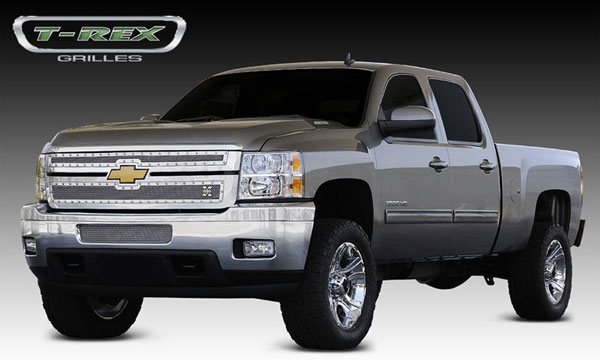 T-Rex 6711140:  Chevrolet Silverado HD 2011 - 2012 X-METAL Series - Studded Main Grille - Polished SS - 2 Pc Style