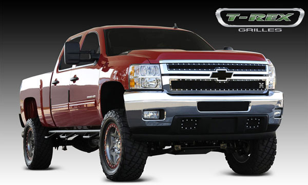 T-Rex 6711141:  Chevrolet Silverado HD 2011 - 2012 X-METAL Series - Studded Main Grille - ALL Black - 2 Pc Style