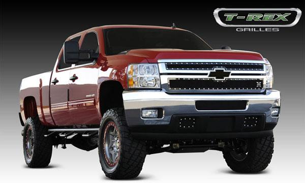 T-Rex 6711141 |  Chevrolet Silverado HD - X-METAL Series - Studded Main Grille - ALL Black - 2 Pc Style; 2011-2012