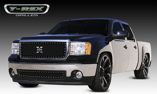 T-Rex 6712051:  GMC Sierra 1500 2007 - 2010 X-METAL Series - Studded Main Grille - ALL Black