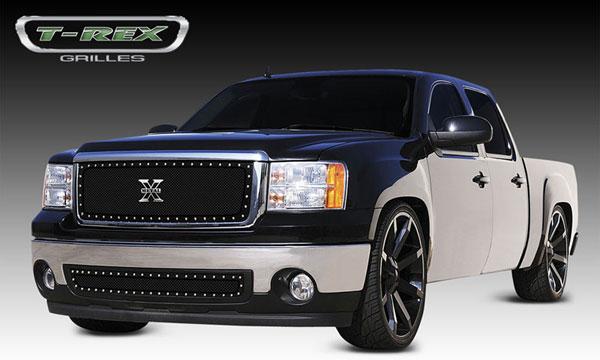 T-Rex 6712051 |  GMC  Sierra 3500 1500 - X-METAL Series - Studded Main Grille - ALL Black; 2007-2010