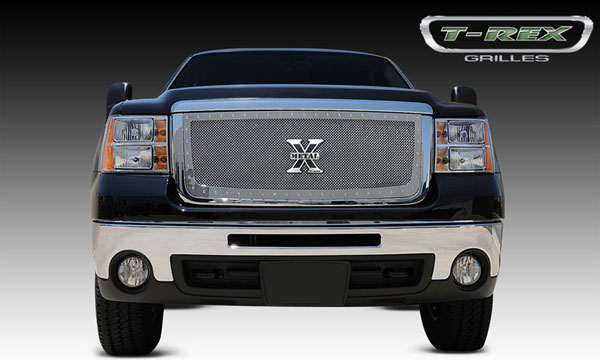 T-Rex 6712060:  GMC Sierra 2500HD, 3500 2007 - 2010 X-METAL Series - Studded Main Grille - Polished SS