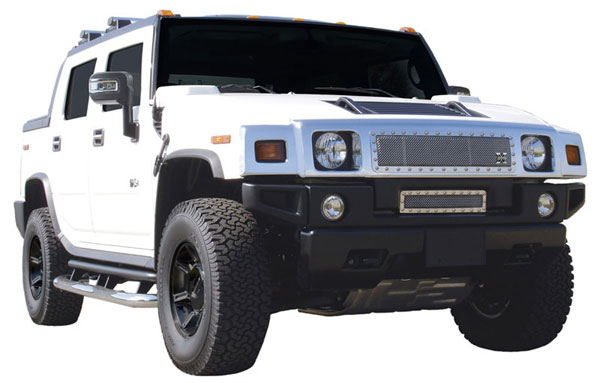 T-Rex 6712900:  Hummer H2 2003 - 2007 X-METAL Series - Studded Main Grille - Polished SS