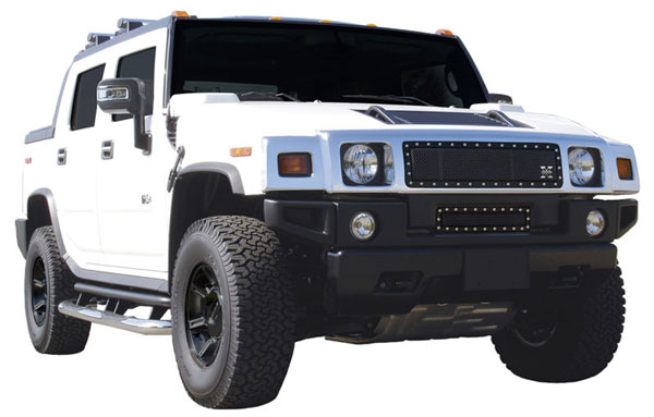 T-Rex 6712901:  Hummer H2 2003 - 2007 X-METAL Series - Studded Main Grille - ALL Black