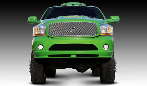 T-Rex 6714590:  Dodge Ram PU 2006 - 2008 X-METAL Series - Studded Main Grille - Custom 1 Pc Full Opening (Requires Cutting center Bars) - Polished SS