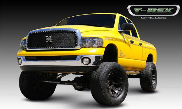 T-Rex 6714611:  Dodge Ram PU 2002 - 2005 X-METAL Series - Studded Main Grille - Custom 1 Pc Full Opening (Requires Cutting center Bars) - Black