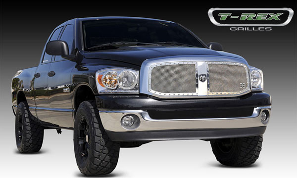 T-Rex 6714670:  Dodge Ram PU 2006 - 2008 X-METAL Series - Studded Main Grille - Custom 2 Pc Opening (Requires Cutting center Bars) - Polished SS