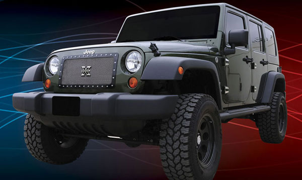 T-Rex 6714830:  Jeep Wrangler 2007 - 2013 X-METAL Series - Studded Main Grille - Polished SS - 1 Pc Custom (Cut Center Bars)