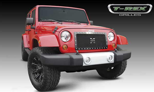 T-Rex 6714831:  Jeep Wrangler 2007 - 2013 X-METAL Series - Studded Main Grille - ALL Black - 1 Pc Custom (Cut Center Bars)
