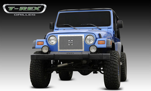 T-Rex 6714900:  Jeep Wrangler 1997 - 2006 X-METAL Series - Studded Main Grille - Polished SS - 1 Pc Custom (Cut Center Bars)