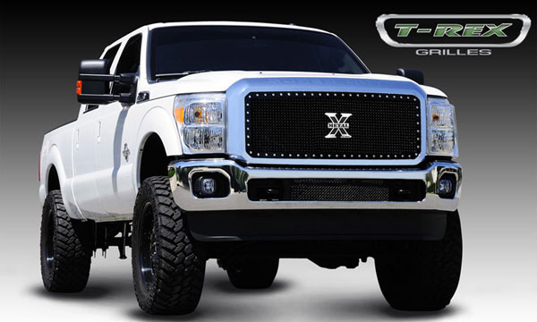 T-Rex 6715461:  Ford Super Duty 2011 - 2012 X-METAL Series - Studded Main Grille - Black - 1 Pc