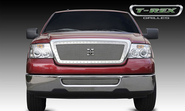 T-Rex 6715560:  Ford F-150 / Mark LT (All Models) 2004 - 2008 X-METAL Series - Studded Main Grille - Polished SS