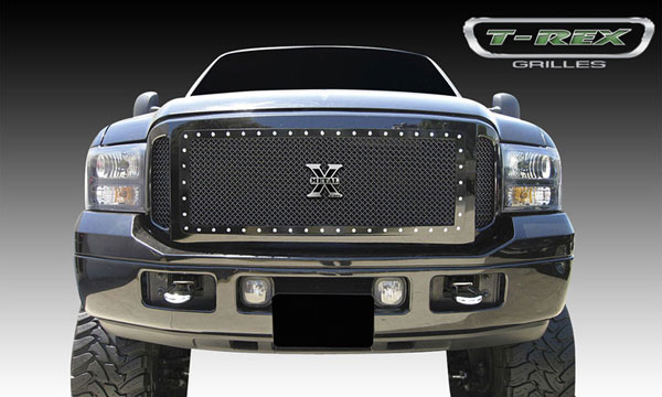 T-Rex 6715611:  Ford Super Duty, Excursion 2005 - 2007 X-METAL Series - Studded Main Grille - ALL Black - 3 Pc (Center Insert has Frame and Studs - Side Grilles are Mesh Only)