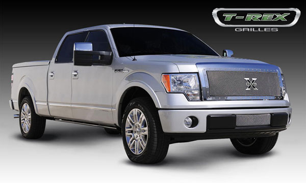 T-Rex 6715680 |  Ford F-150 - X-METAL Series - Studded Main Grille - Custom 1 Pc Full Opening (Requires Cutting center Bars) - Polished SS; 2009-2012