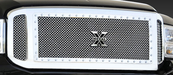 T-Rex 6715700:  Ford Super Duty 1999 - 2004 X-METAL Series - Studded Main Grille - Polished SS - 3 Pc (Center Insert has Frame and Studs)