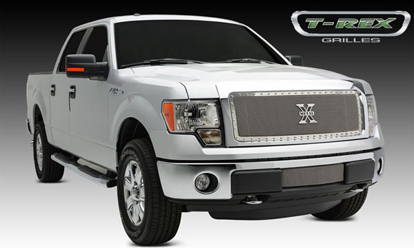 T-Rex 6715720:  Ford F-150 2013 - 2013 X-METAL Series - Formed Mesh Grille, Main, Insert, 1 Pc, Polished Stainless Steel, Requires Center Bars Cutting on OEM shell