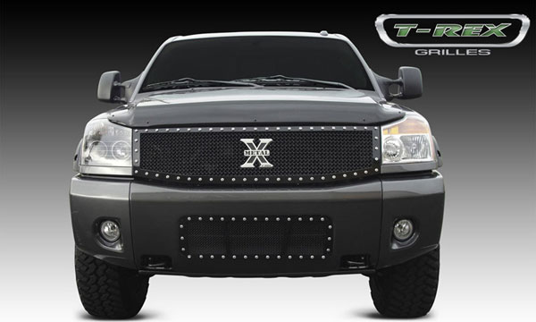 T-Rex 6717791:  Nissan Titan (04-07 Armada) 2004 - 2012 X-METAL Series - Studded Main Grille - ALL Black - Custom 1 Pc (Replaces OE Grille)