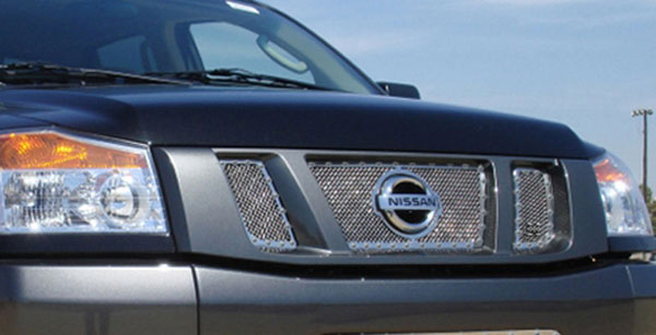 T-Rex 6717810:  Nissan Titan 2008 - 2012 X-METAL Series - Studded Main Grille - Polished SS - 3 Pc - with Logo Opening