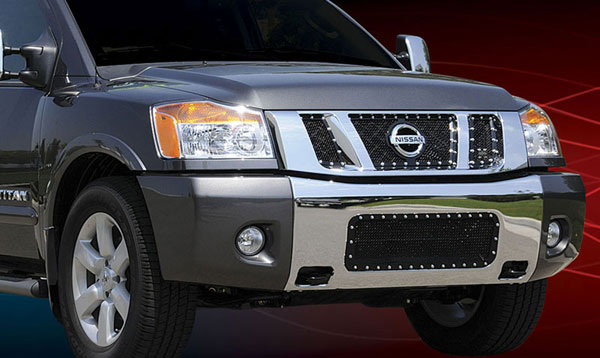 T-Rex 6717811:  Nissan Titan 2008 - 2012 X-METAL Series - Studded Main Grille - ALL Black - 3 Pc - with Logo Opening
