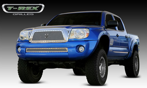 T-Rex (6718950)  Toyota Tacoma 2005 - 2010 X-METAL Series - Studded Main Grille - Polished SS (Includes 2 Small Triangle Grille Inserts)