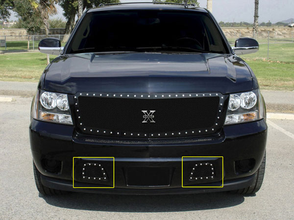 T-Rex (6720511)  Chevrolet Avalanche 2007 - 2013 X-METAL Series - Studded Bumper Grille - ALL Black