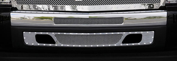 T-Rex 6721120:  Chevrolet Silverado 1500 & 07-10 HD 2007 - 2013 X-METAL Series - Studded Bumper Grille - Polished SS - 2 PC - 2007-2010 HD & 2009-2012 Silverado 1500