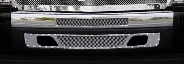 T-Rex 6721120 |  Chevrolet Silverado 1500 & 07-10 HD 2007 - 2013 X-METAL Series - Studded Bumper Grille - Polished SS - 2 PC - 2007-2010 HD & 2009-2012 Silverado 1500