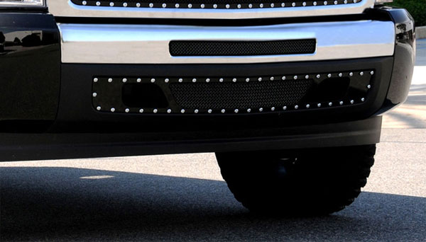 T-Rex 6721121:  Chevrolet Silverado 1500 & 07-10 HD 2007 - 2013 X-METAL Series - Studded Bumper Grille - Black - 2 PC - 2007-2010 HD & 2009-2012 Silverado 1500