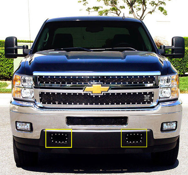 T-Rex 6721151:  Chevrolet Silverado HD 2011 - 2012 X-METAL Series - Studded Tow hook Bumper Grille - 2 Pc ALL Black - 2 PC (Includes Top bumper mesh and air dam grille)