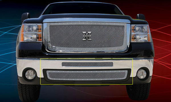 T-Rex 6722060:  GMC Sierra 2500HD, 3500 2007 - 2010 X-METAL Series - Studded Bumper Grille - Polished SS - 2 PC (Includes Top bumper mesh and air dam grille)