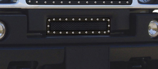 T-Rex 6722901:  Hummer H2 2003 - 2007 X-METAL Series - Studded Bumper Grille - ALL Black