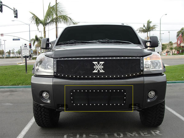 T-Rex 6727801:  Nissan Titan (04-07 Armada) 2004 - 2012 X-METAL Series - Studded Bumper Grille - ALL Black
