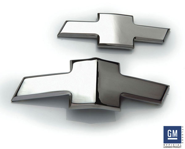 T-Rex 6910012:  Chevrolet Camaro 2010 - 2013 Defenderworx Billet Bowtie Kit - Front & Rear - GM Licensed - Chrome (Replaces Gold Bowtie area inside OE chrome housing)