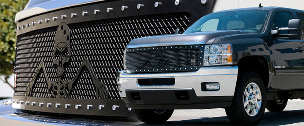 T-Rex 7111156:  Chevrolet Silverado HD 2011 - 2012 URBAN ASSAULT ''GRUNT'' - Studded Main Grille w/ Soldier - Black OPS Flat Black - Custom 1 Pc Style (Replaces OE Grille) (UPS OS3)