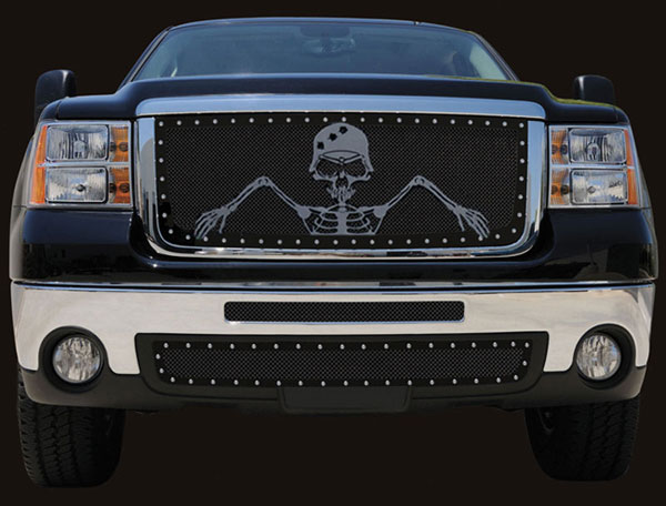 "T-Rex 7112066 |  GMC Sierra 3500 2500HD, URBAN ASSAULT ""GRUNT"" - Studded Main Grille w/ Soldier - Black OPS Flat Black; 2007-2010"