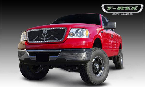 "T-Rex 7115566 |  Ford F-150 (All Models) - URBAN ASSAULT ""GRUNT"" - Studded Main Grille w/ Soldier - Black OPS Flat Black; 2004-2008"