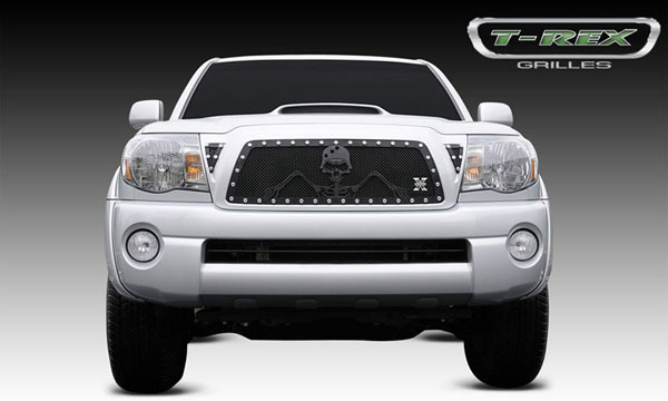 T-Rex 7118956:  Toyota Tacoma 2005 - 2010 URBAN ASSAULT ''GRUNT'' - Studded Main Grille w/ Soldier - Black OPS Flat Black (Includes 2 Small Triangle Grille Inserts)