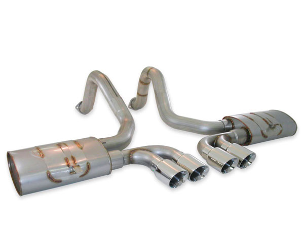 Stainless Works VC53CBQUAD:  Chevy Corvette 1997-2004 Exhaust Turbo Muffler Axle-Back - Quad Tips