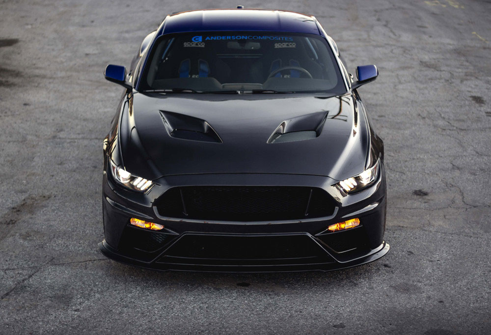 Anderson Composites Ac Hd15fdmu Tt Mustang Gt500 Style Carbon Fiber Hood 2015 2017