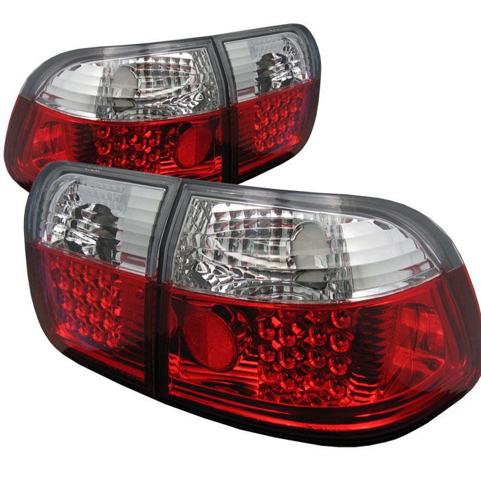 Spyder ALT-YD-HC96-4D-LED-RC - Spyder Honda Civic 96-98 4Dr LED Tail Lights - Red Clear
