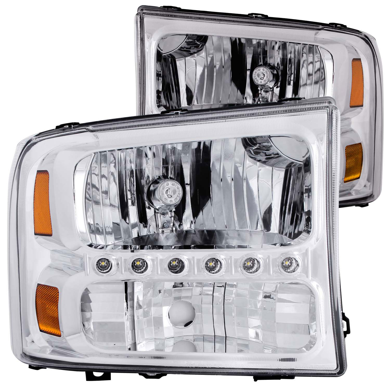 Anzo 111088 Usa Ford F 250 350 450 Super Duty Crystal 2004 Led Lighting Headlights Chrome W 1pc 1999