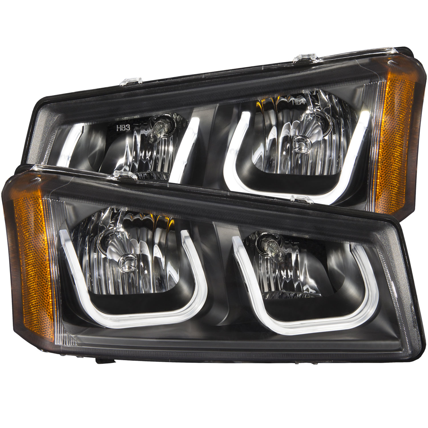 Anzo 111312 | ANZO USA Chevrolet Silverado Projector Headlights W/ U-Bar Black; 2003-2006