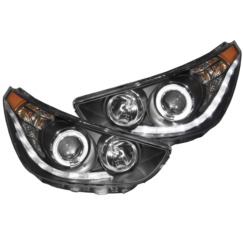 ANZO 121476 | USA Hyundai Accent 4dr / Hatchback Projector Headlights W/  Halo Black (Ccfl); 2012-2013 | Hyundai Accent 2012 Headlight Bulb |  | Late Model Performance