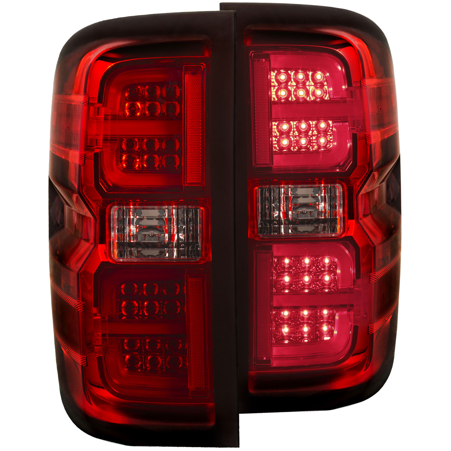 Anzo 311249 | ANZO USA Chevrolet Silverado Hd Led Taillights Red/Clear; 2015-2018