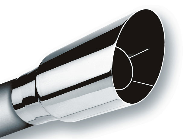 Borla 20122 - Borla Single Round Angle-Cut Intercooled Tip (each) 3 inch inlet, 3.5 inch outlet