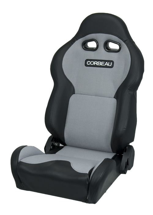 Corbeau 20009 - Corbeau VX2000 Reclining Seat in Black Vinyl/ Grey Cloth (Sold in Pairs, Price is for 2 Seats)
