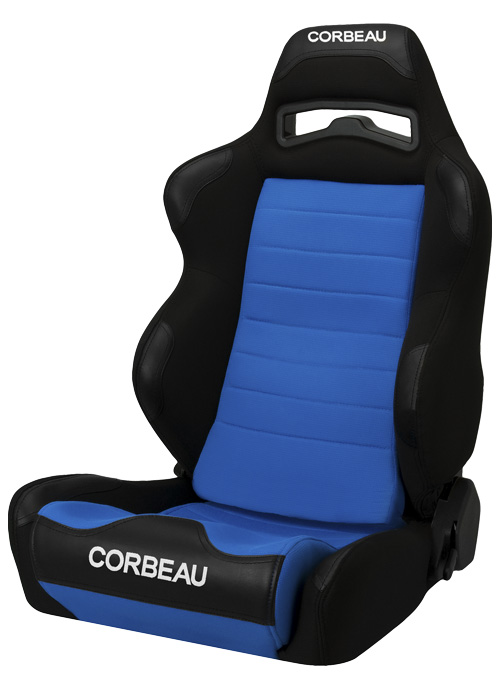 Corbeau 25505 - Corbeau LG1 Reclining Seat in Black/Blue Cloth (Sold in Pairs, Price is for 2 Seats)