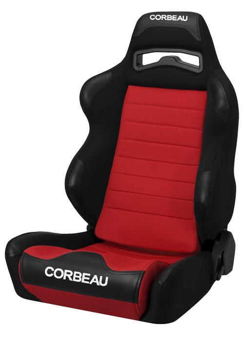 Corbeau 25507 - Corbeau LG1 Reclining Seat in Black/Red Cloth